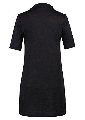 Frauen-Sommer-Druck-tiefe V-Choker-Ansatz-Kurzschluss-Hülsen-lose T-Shirt-Kleid