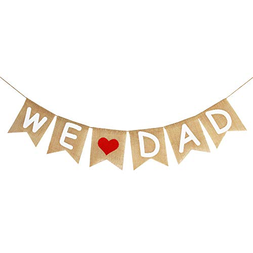 Burlap We Love Dad Banner Garland | Rustic Fathers Day Decorations | Fathers Day Gift from Son and Daughter | Fathers Day Party Supplies Family Photo Props -