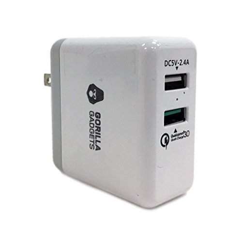 Gorilla Gadgets Quick Charge 3.0 Dual ports Wall Charger, White by Gorilla Gadgets
