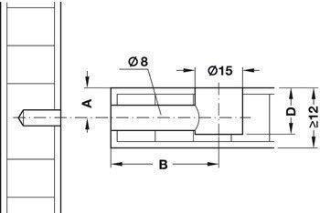 Conector para Pozo /Ø 5mm Hecho en Alemania  M/öbelbeschl/äge  1 Juego Tapa Marr/ón /& Blanco Set Completo Gedotec Conector de Muebles Exc/éntrica Schrank-Verbinder Minifix 15mm