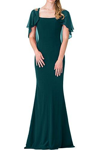 La Gruen Chiffon Ballkleider mia Festlich Blau Partykleider Braut Schnitt mit Stola Lang Meerjungfrau Abendkleider Schmaler twwnqH6r