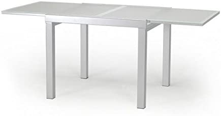 designement Mesa Extensible Cristal Blanco 90 x 90 x 75 cm: Amazon ...