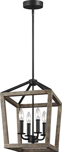 "Feiss F3190/4WOW/AF Gannet Wood Lantern Pendant Lighting, Brown, 4-Light (12""W x 17""H) 240watts from Feiss"