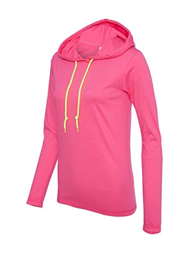 - Anvil Womens Ringspun Long-Sleeve Hooded T-Shirt (887L) -HOT PINK/NEO -S
