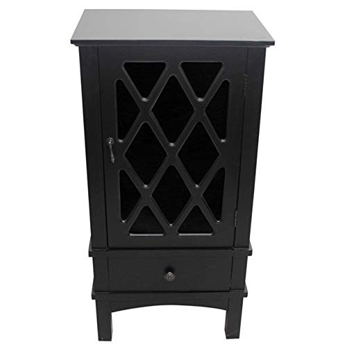 Black Media Cabinet Antique (Heather Ann Creations The Cottage Collection Modern Style Wooden Living Room Single Door and Drawer Accent Cabinet with Glass Lattice Inserts, Black)