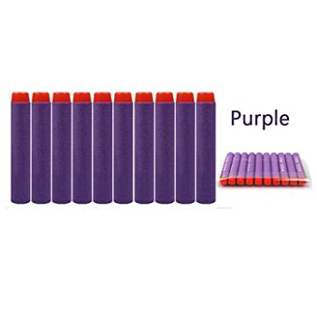10PCS Refill Bullets Dart For Nerf N-strike Elite Rampage Retaliator Series Blasters Refill Clip 7.2x1.3cm (Purple) by Generic