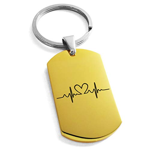 Tioneer Gold Plated Stainless Steel Love Heart Lifeline Engraved Dog Tag Keychain Keyring by Tioneer