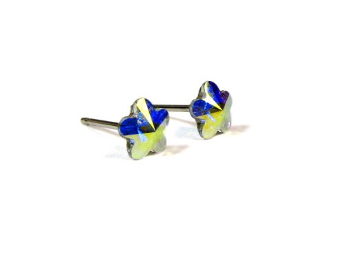 ed Flower Swarovski Crystal Element Earrings, 6mm (Northern Lights Crystal Flower)