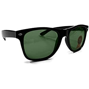 Wayfarer Sunglasses for Men & Women Classic Green Authentic Glass Lens (Black Frame) - D263GL