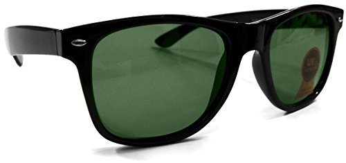 Wayfarer Sunglasses for Men & Women Classic Green Authentic Glass Lens (Black Frame) - - Sunglasses Jfk