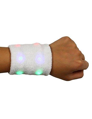 Flashing Panda LED Light-Up Flashing Sweat Wristband, White, Multi-Color Lights