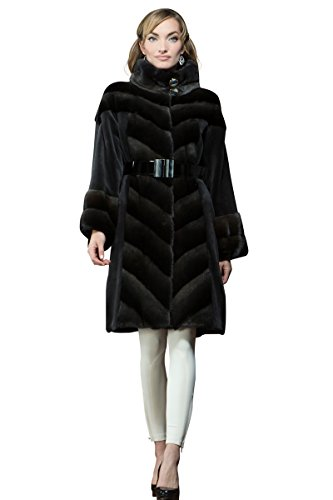 Anamoda Women's Roman Silver Dyed Sheared Mink and Cross Mid-Length Fur Coat Medium Silver (Dyed Beaver Sheared)