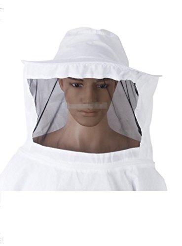 White Beekeeper Costume (Beekeeping Jacket Veil Smock Bee Keeping Hat Sleeve Suit Beekeeper Uniforms Workwear Protective Safety Clothing)