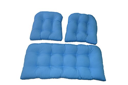 3 Piece Wicker Cushion Set - Indoor / Outdoor Pool Blue Wicker Loveseat Settee & 2 Matching Chair Cushions 2 Piece Settee