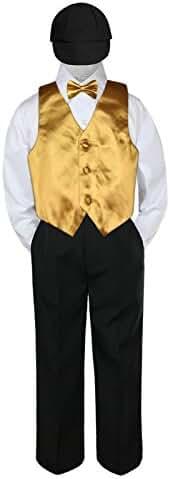 5pc Formal Baby Toddler Boys Gold Vest Set Black Pants Suits Hat S-4T (L:(12-18 months))