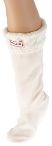 Hunter Adults Cable Cuff Welly Socks - Cream - L