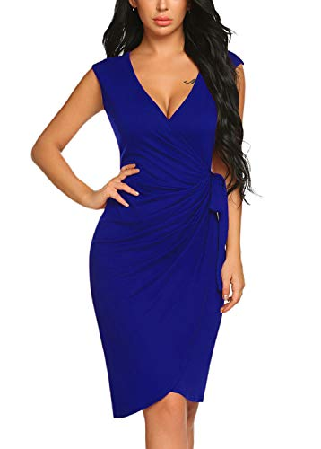 BLUETIME Women's V Neck Cocktail Bodycon Dress Cap Sleeve Work Pencil Wrap Dress (Medium, Royal Blue)