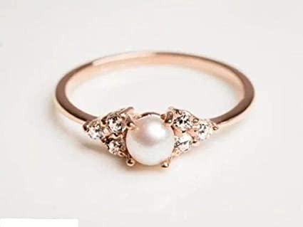 6037759c3 Amazon.com: 888 Easy Shop Elegant Pearl Rings White/Rose Gold Filled ...