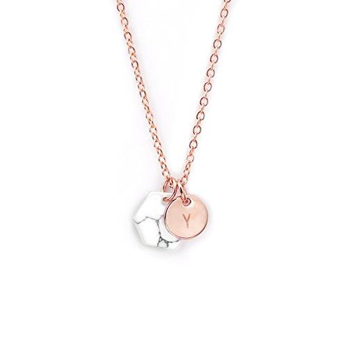 (MignonandMignon Rosegold Raw Stone Marble Pendant Necklace Personalized Howlite Necklace Minimalist Marble Jewelry Geometric Pendant Earthy Necklace - HMN-TC (Y))