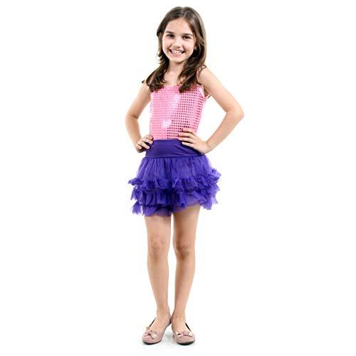 New Pop Star Infantil Sulamericana Fantasias Rosa/Roxo G 10/12 Anos