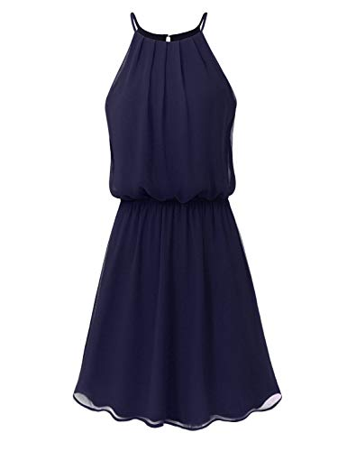 (JSCEND Women's Sleeveless Double Layered Pleated Neck Cami Chiffon Mini Dress (S~3XL) A-Navy)