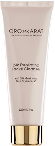 24K Exfoliating Facial Cleanser Daily Care Anti-Aging Microdermabrasion Anti-Wrinkle Reduce Fine Lines Minimize Age Spots Rich with Vitamins C and E Made with 24k Gold Made in the USA (4oz)