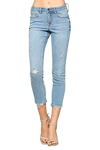 FLYING MONKEY Vervet Women's Mid Rise Distressed Hem Crop Skinny Jeans, Light Blue, VT203-28