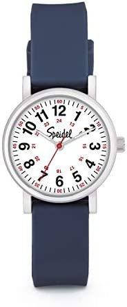 Speidel ladies scrub petite watch for medical professionals – Easy to read small dial, luminous hands, silicone strap, pre-owned, military time for nurses, doctors, students in matching scrub colors