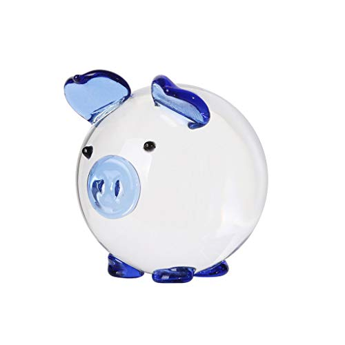 Iusun Multi-Color Crystal Pig Figurine Mini Animal Figure Paperweight Decorations Home Table Top Sunlight Shining Party Valentine's Day New Year Ornaments Craft Gifts (Blue)