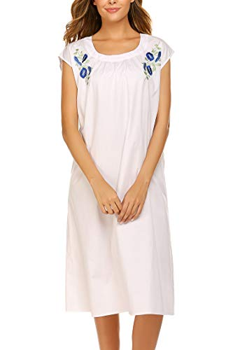 Ekouaer Cotton Nightgown Womens Sleepwear Embroidered Ultra-Soft House Dress Cap Sleeve Nightshirt White M -
