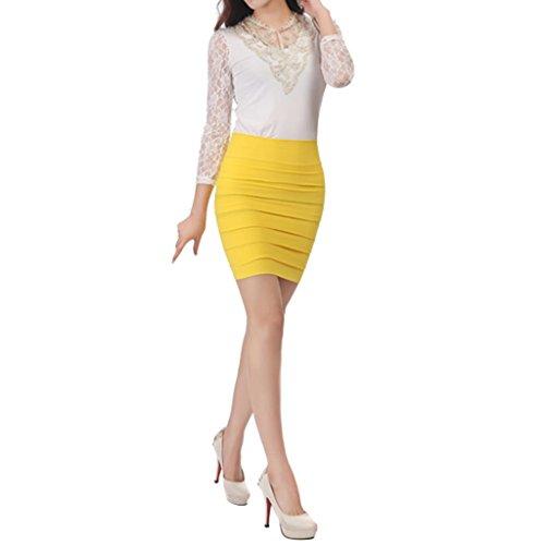 Femme Elastique Mini Jaune Grand jupe Hee Jupe FqgwnH7p4