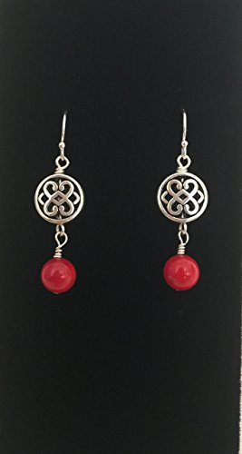 Artisan Sterling Silver WireWrapped Red Coral Dangle Earrings