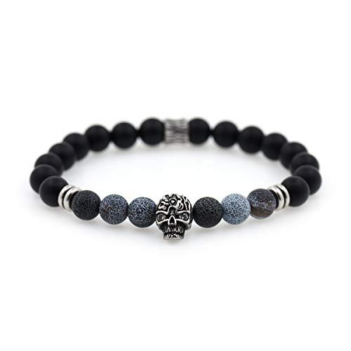 Carved Skull Bracelet Charms,8mm Natural Matte Black Onyx Beads,Healing Gemstone Bracelet Gift for Men's