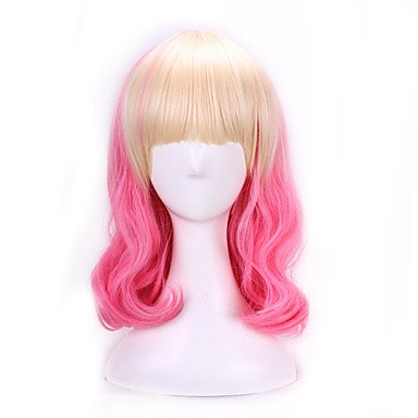 HJLHYL-40 Cm Anime Cosplay Wigs Party Wave Curly Synthetic Hair Wigs Halloween Costume Pink Blonde Wigs , pink ()