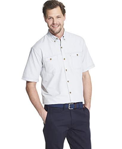 G.H. Bass & Co. Men's Explorer Short Sleeve Fishing Shirt Solid Button Pocket, Quiet Gray, - Shorts Cotton Bass