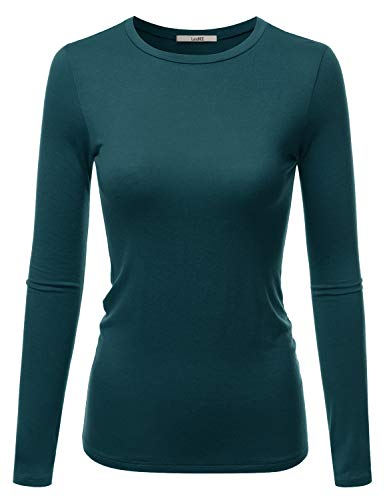 LALABEE Women's Casual Long Sleeve Crewneck Stretch Slim Fit Basic Top T-Shirt DARKTEAL M