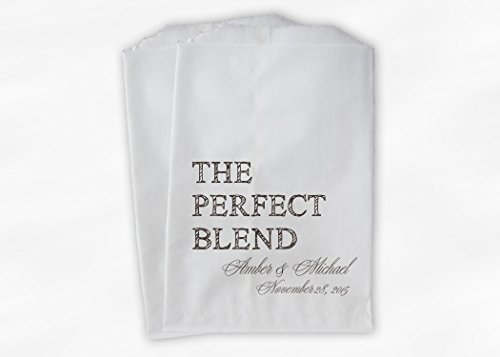 The Perfect Blend Wedding Favor Bags for Coffee, Trail Mix in Espresso Brown - Personalized Set of 25 Paper Bags (0219)