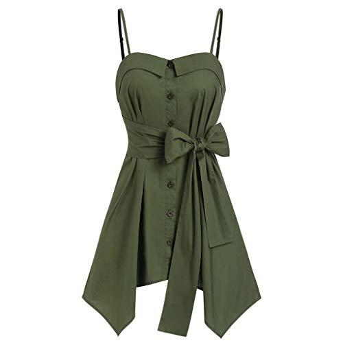 Womens Sexy Tops 2019, YEZIJIN Fashion Womens Asymmetric Spaghetti Strap Bandage Button Tank T-Shirt Top Green]()