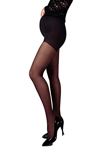 Mama Maternity Pantyhose Tights Sheer 20 denier Pregnancy Hosiery (XL, Black) ()
