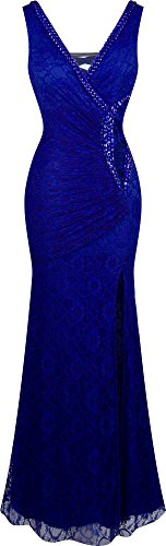 Angel-fashions Womens V Neck Lace Split Ruffled Beading Sheath Dress X-Large Royal blue