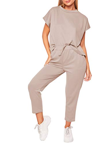 Women's 2 Pieces Outfits Short Sleeve Round Neck Top and Capris Pants Sweatsuits Set Tracksuits (L, -