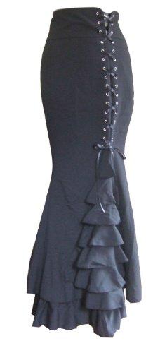 DangerousFX Women's Long Frilly Fishtail Corset Skirt