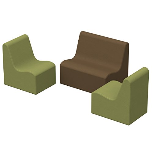 ECR4Kids SoftZone Toddler Wave Seating - Play Foam Furniture for Kids - Earthtone (3-Piece Set)