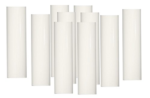 Set of 10 pc 2 Inch Tall White Candelabra Base Thin 3/4