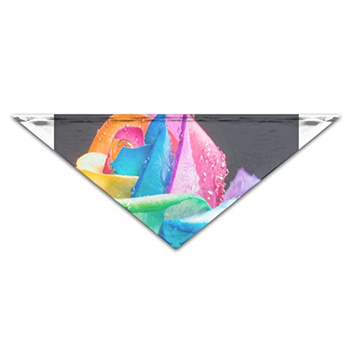 HJudge Dog Bandana Rainbow Roses and Water Drops Dog Scarf Marvellous Pet Triangle Bibs