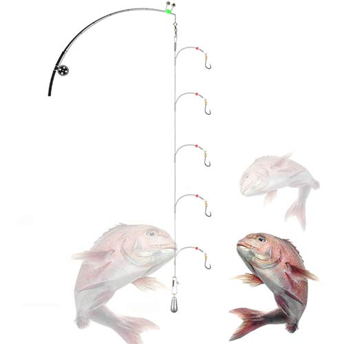 Deep Drop Rig Wire with 5-Hooks,Steel Leaders Fishing Saltwater with Rolling Circle Hook ()