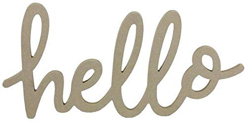 Craig Bachman MDF Hello Wooden Wood Sign | Wreath Embellishment | Paintable Brown