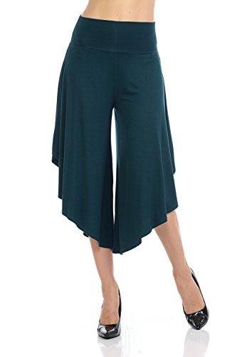 JDJ CO. Women's Layered Wide Leg Flowy Cropped Palazzo Pants, 3/4 length High Waist Palazzo Wide Legs Capri Pants(XL,H.Green) (Green Capri Dot Pants)