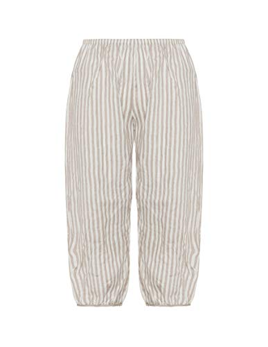 Isolde Roth Plus Size Pants Striped Linen Balloon Trousers - Ladies - Trousers - Women - Casual - Summer Style - navabi - Beige/Ivory-White