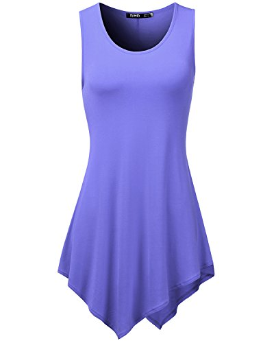 TWINTH Womens Handkerchief Hem Tank Tunic Top Violet Large (Violet Handkerchief)